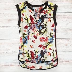Daniel Rainn Top Floral Red Blue White Small